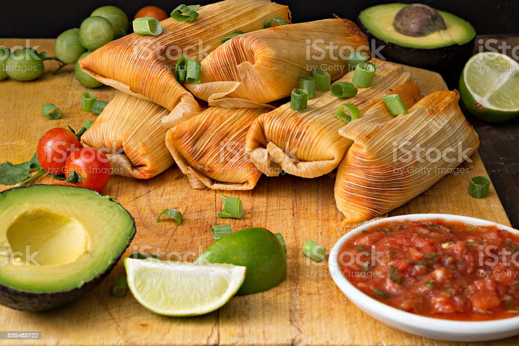 Tamales And Salsa stock photo