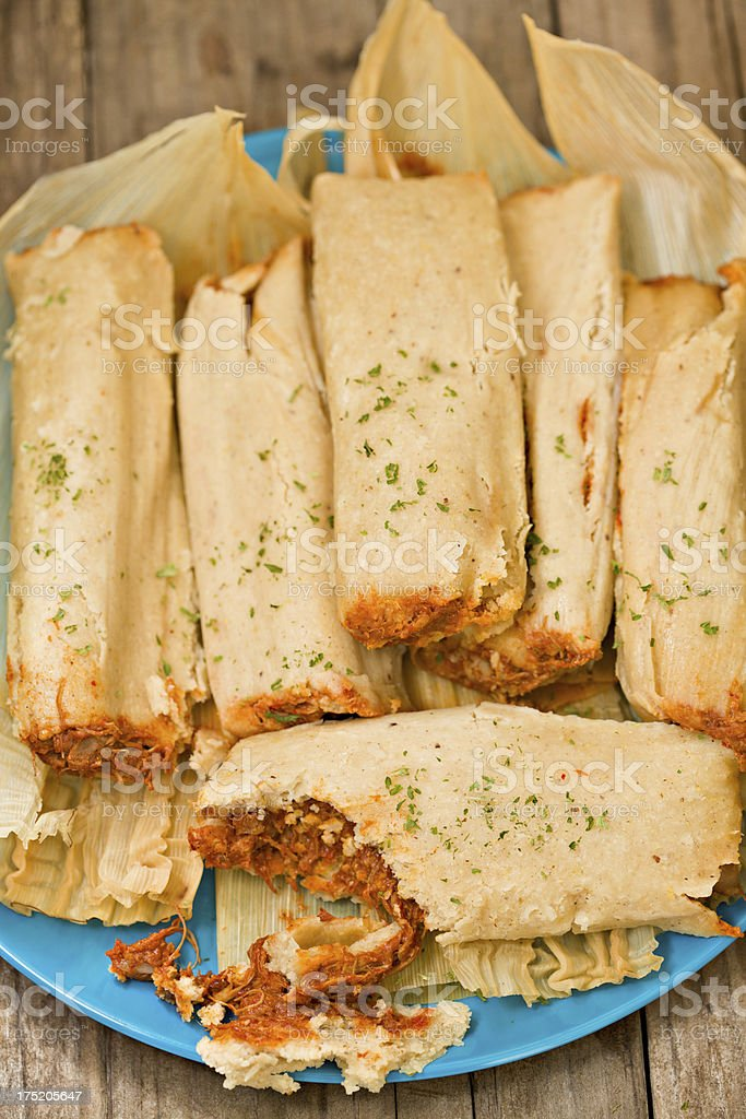 Tamales On A Plate stock photo