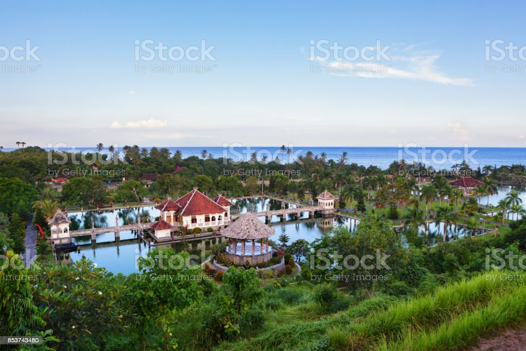 Taman Ujung water palace with pools and park in Bali stock photo