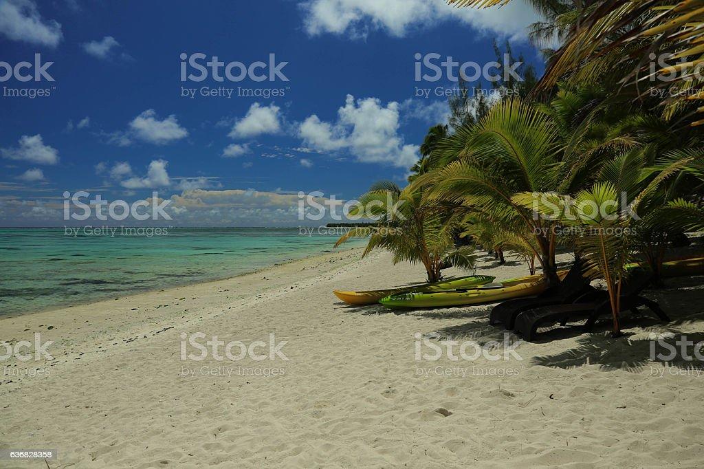 Tamanu beach, Aitutaki stock photo