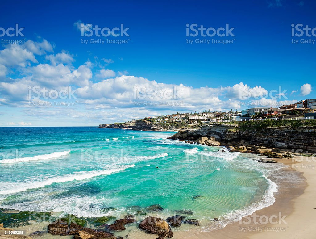 tamarama beach near bondi on sydney australia coast stock photo