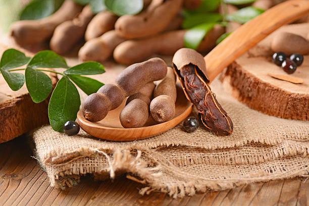 fruits du tamarinier sur la tableau - tamarin photos et images de collection