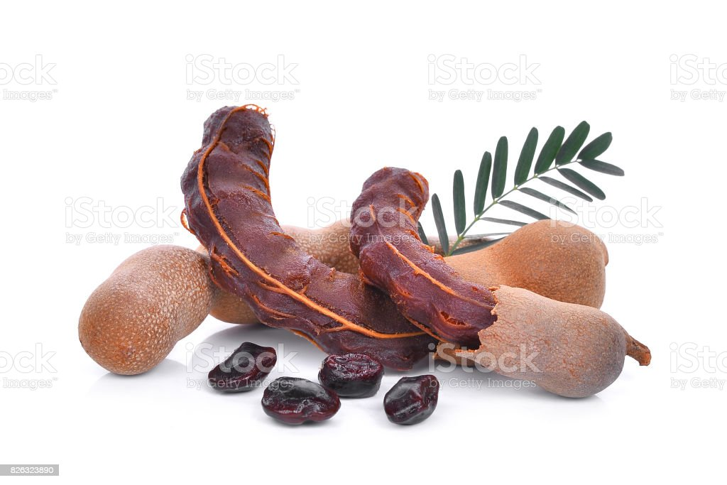Tamarind With Leaf And Seeds Tropical Fruit Isolated On White