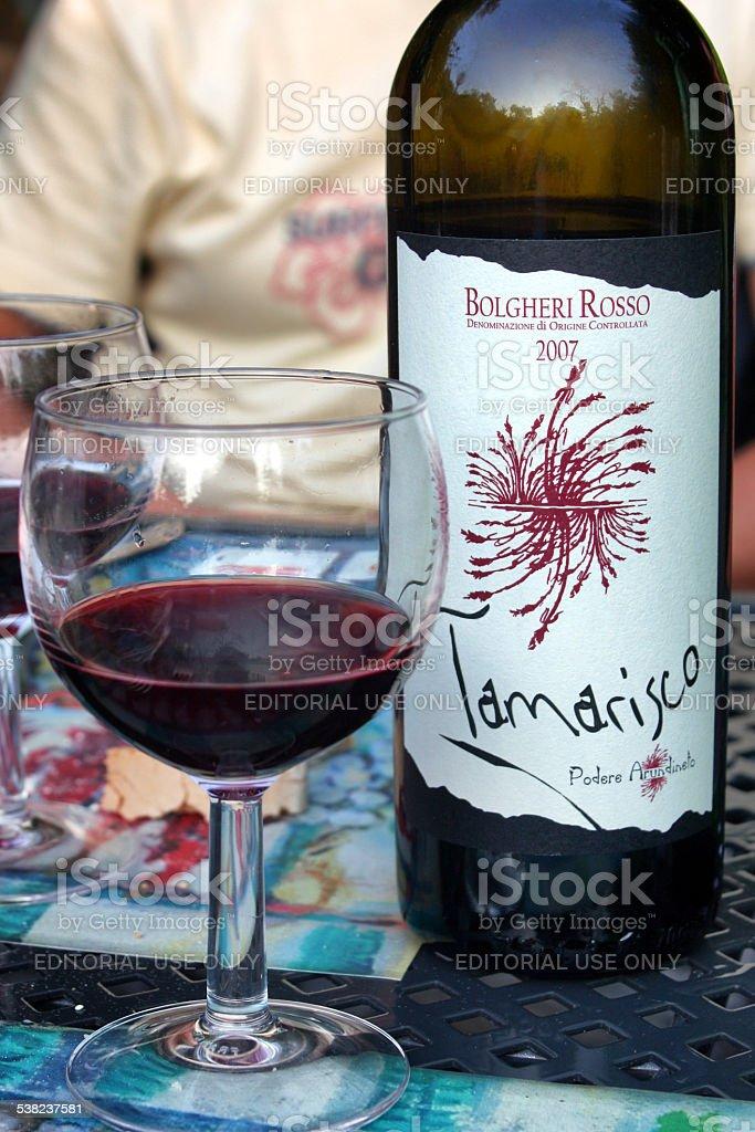 Tamarisco Bolgheri Red Wine stock photo