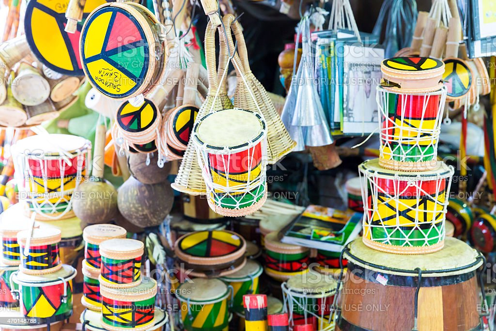 Tamborine product at the Mercado Modelo in Salvador, Bahia stock photo