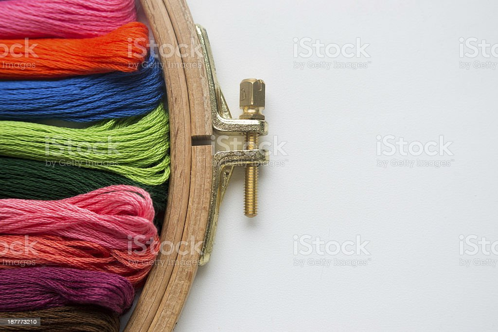 tambour with threads for embroidery stock photo