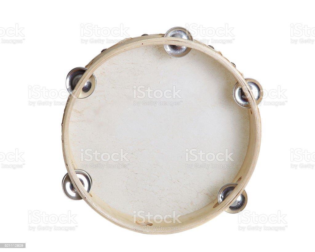 Tambourine isolated on white background stock photo
