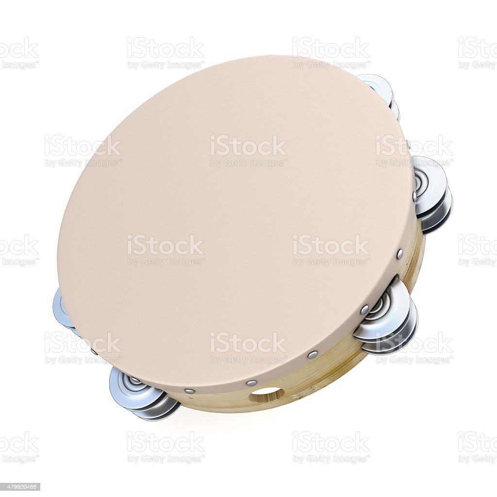 Tambourine on white background stock photo