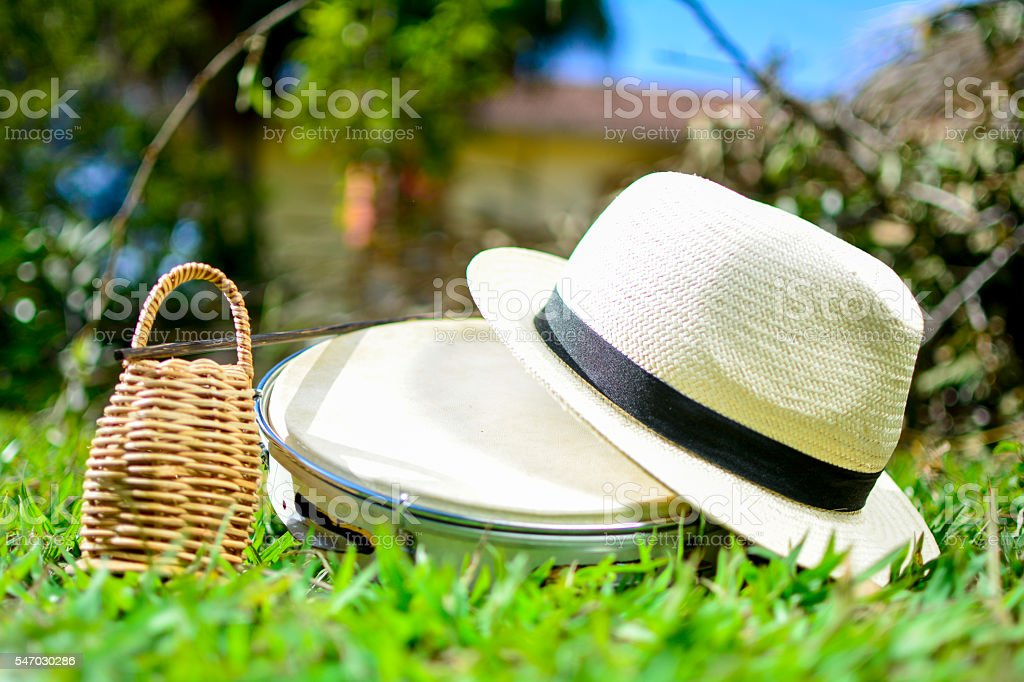 Tambourine with hat and rattle stock photo