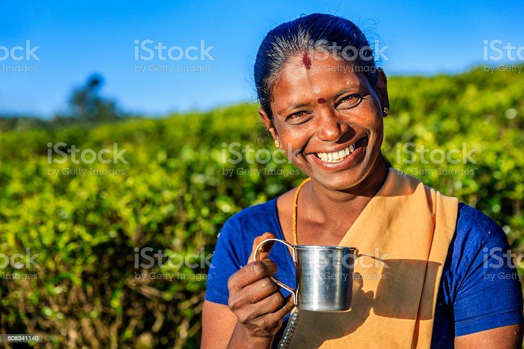 Tamil woman drinking fresh tea on plantation, Ceylon stock photo