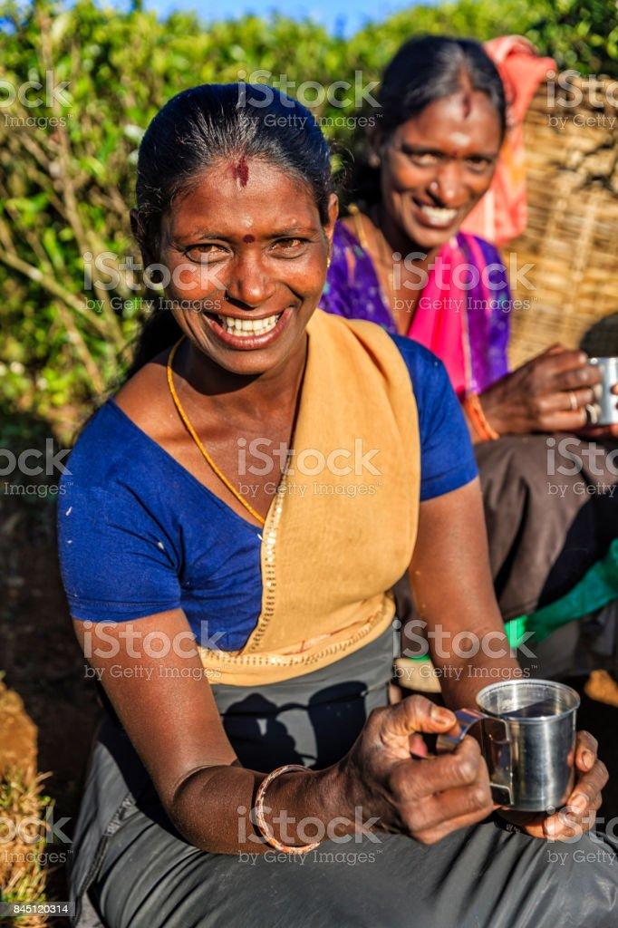 Tamil women drinking fresh tea on plantation, Ceylon stock photo
