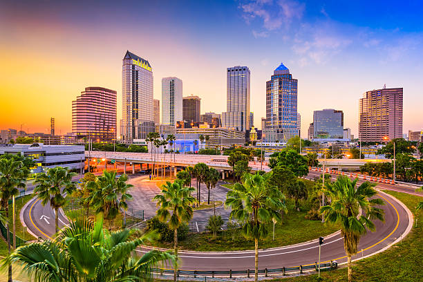 tampa florida skyline - downtown district stock pictures, royalty-free photos & images
