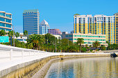 Beautiful view of the Tampa Florida skyline from Bayshore Boulevard with Tampa Bay water in the foreground.