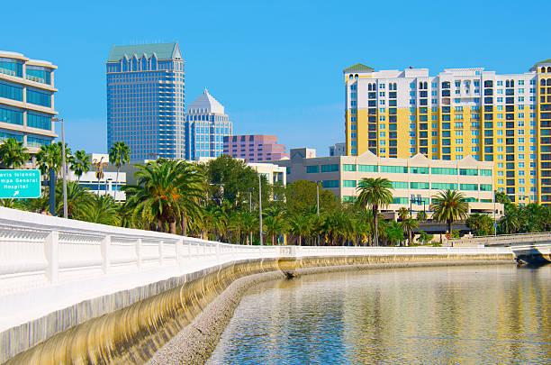 Tampa Florida skyline viewed from Bayshore Blvd. stock photo