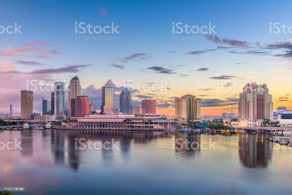 美國佛羅里達州坦帕海灣市中心天際線 - 免版稅人類居住地圖庫照片