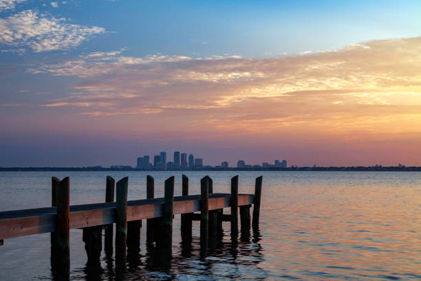 Tampa Skyline as viewed at sunset from a small dock across Tampa Bay