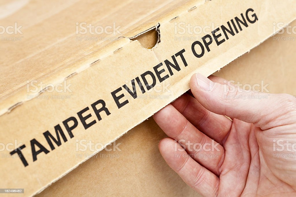 Tamper evident opening stock photo