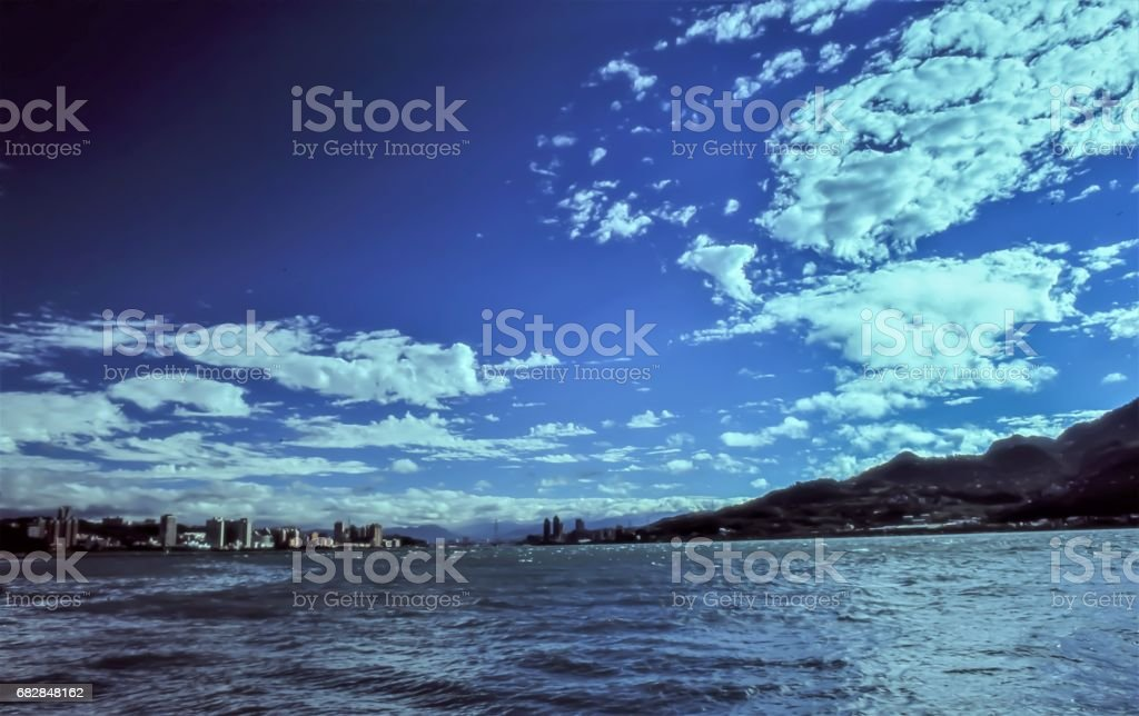 Tamsui Riverside of Taiwan, Dramatic Sky Lizenzfreies stock-foto