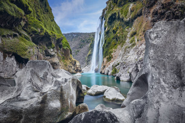 Tamul Waterfall on Tampaon River, Huasteca Potosina, Mexico Scenic view of spectacular Tamul Waterfall, Tampaon River, Huasteca Potosina, Mexico san luis potosi stock pictures, royalty-free photos & images