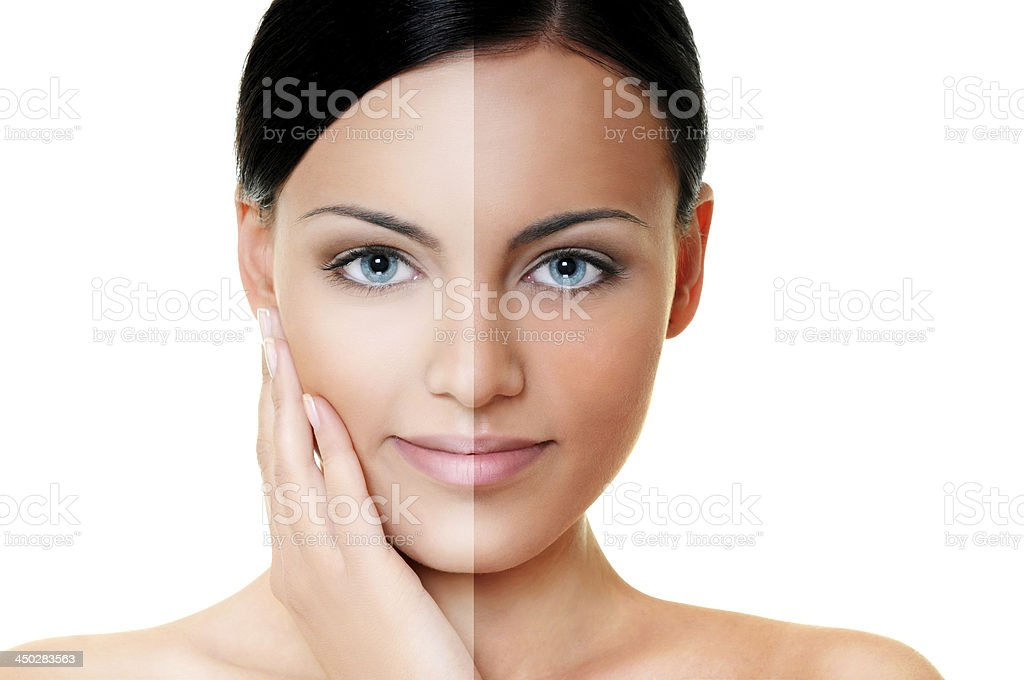Tan - before and after stock photo