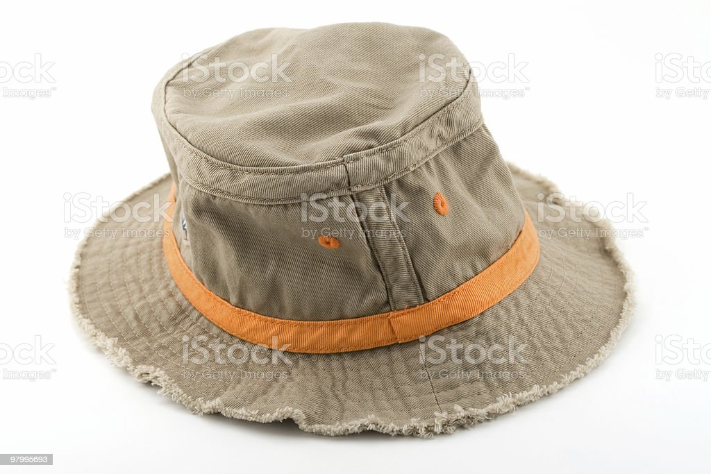 Tan fishing hat with orange band royalty-free stock photo