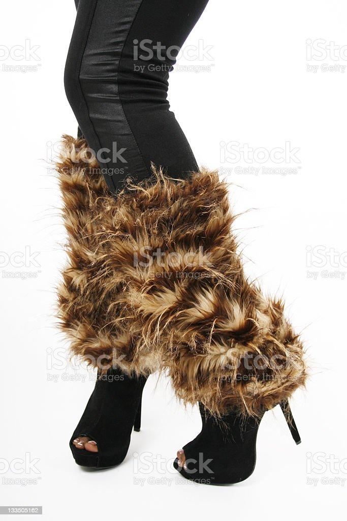 Tan Fur Leg Warmers stock photo
