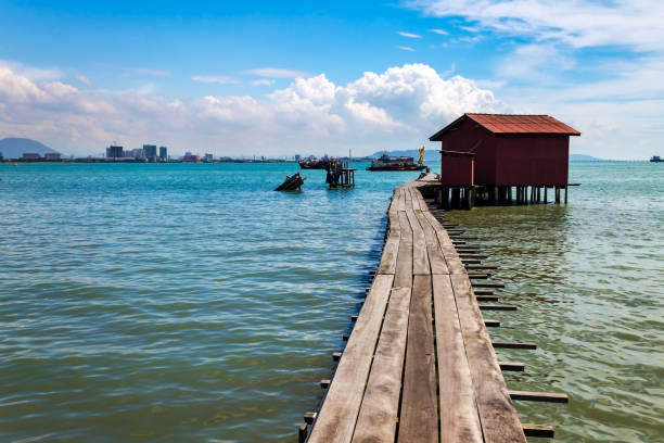 Tan Jetty, part of the Clan Jetties, Georgetown, Penang, Malaysia. stock photo