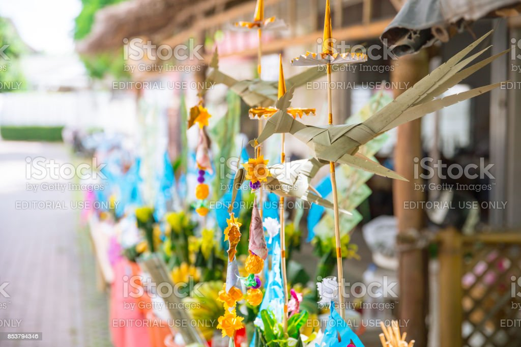 Tan Kuay Salak Festival- Northern Thai ritual that people will give foodstuff and valuable things to the temple and monks they believe it for merit who passed away. stock photo