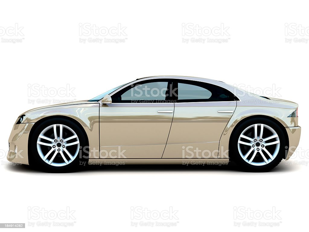 A tan luxury, family car isolated on white stock photo