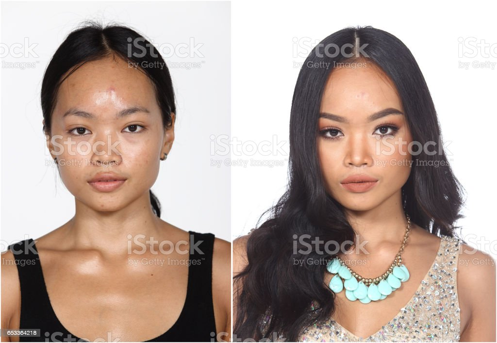 Tan Skin Asian Woman before and after make up and hair do style dresser stock photo