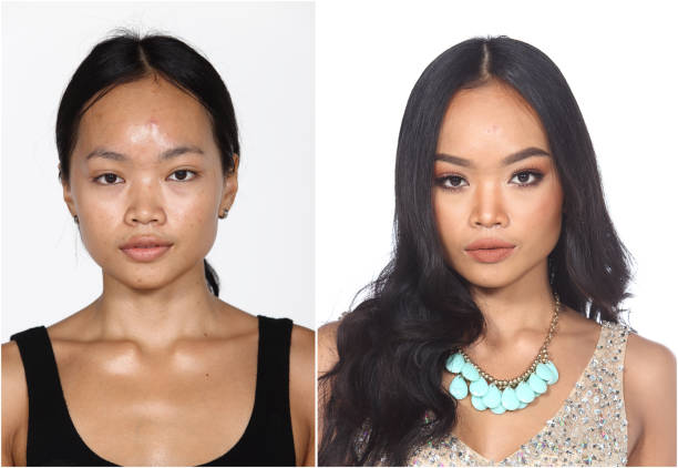 tan skin asian woman before and after make up and hair do style dresser - retouched image stock photos and pictures