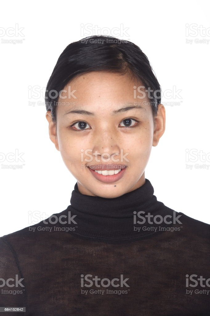 Tan Skin Asian Woman before make up. no retouch, fresh face with acne stock photo