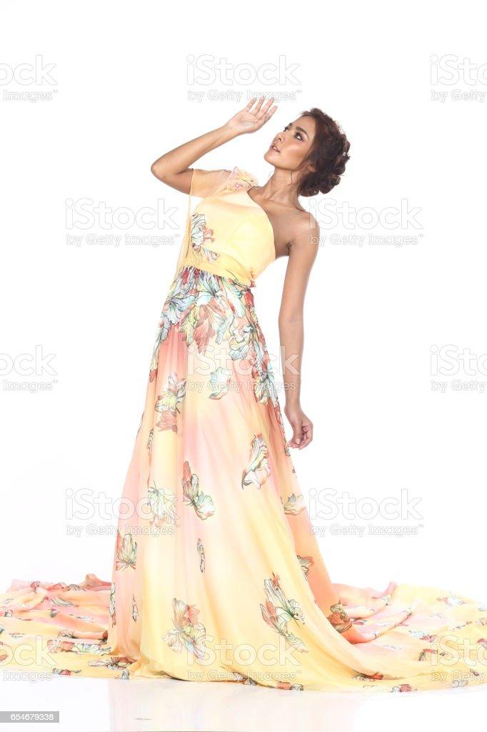 Tan Skin Beautiful Model In Yellow Flower Open One Shoulder Evening ...