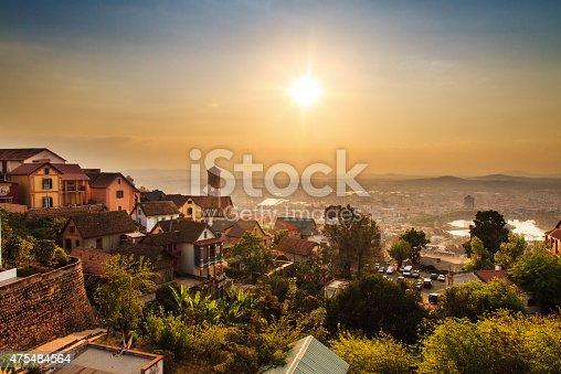 Beautiful cityscape panorama of Antananarivo, Madagascar, at sunset