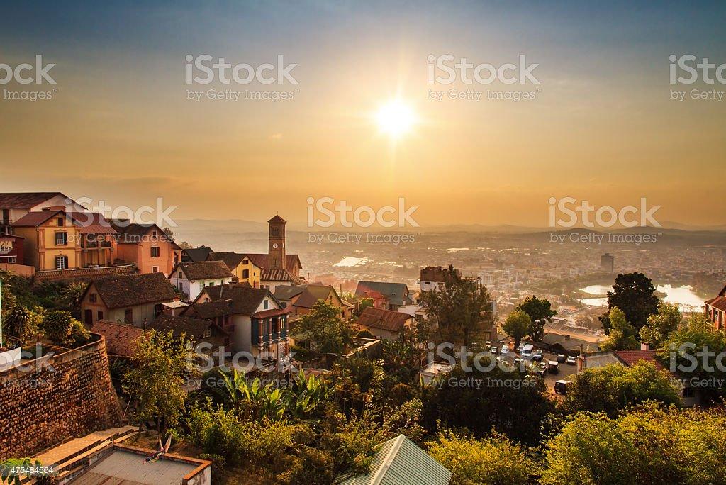 Tana skyline sunset stock photo