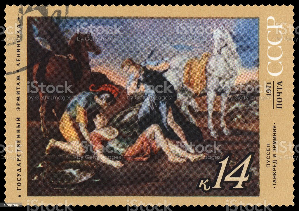 Tancred and Erminia by Nicolas Poussin postage stamp royalty-free stock photo