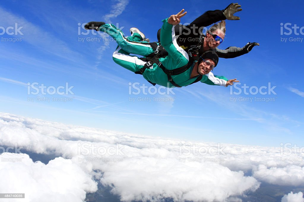 Tandem skydiving royalty-free stock photo