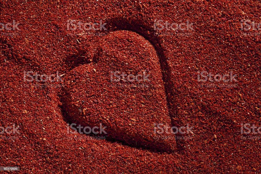 Tandoori masala mix background with heart shape royalty-free stock photo
