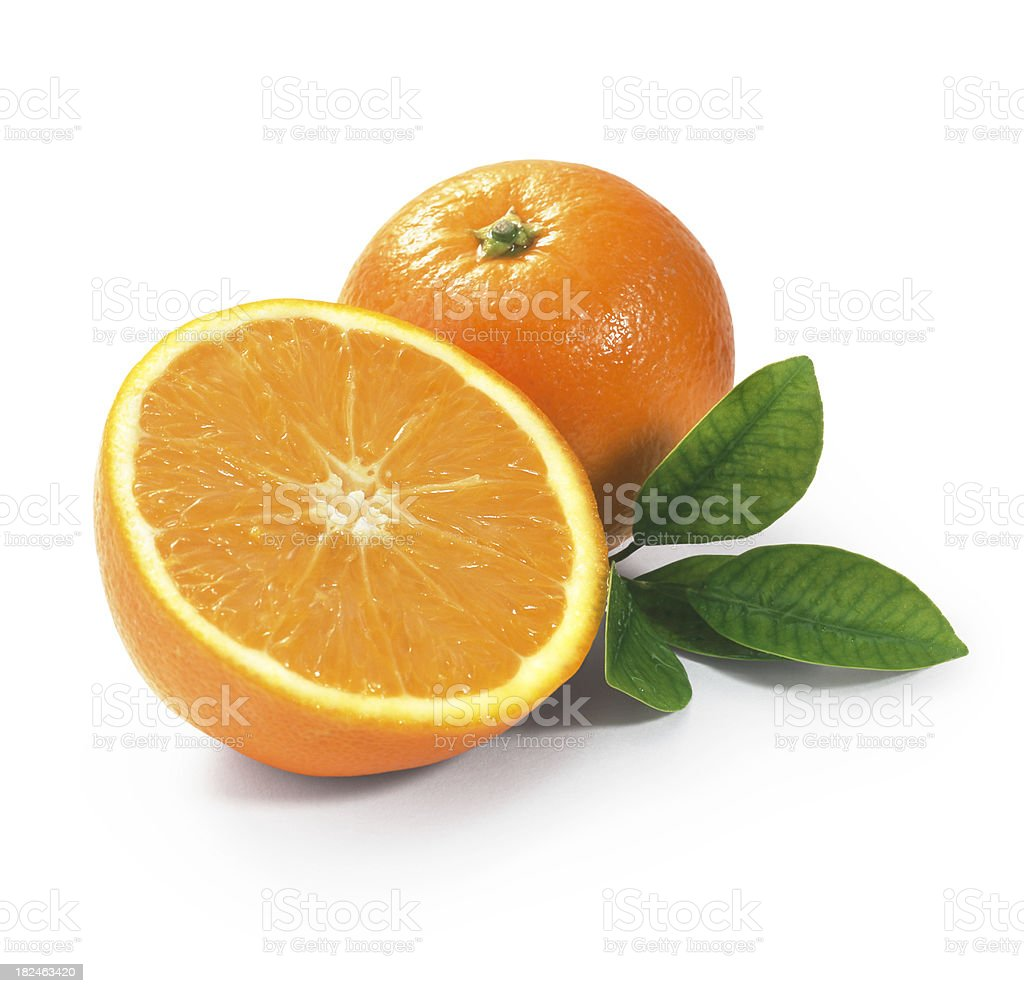 Tangerine duo with Leafs stock photo