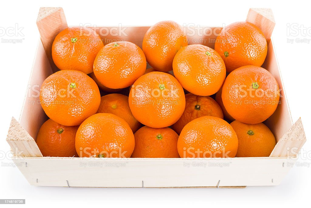 tangerine fruits in a box  (clipping path) royalty-free stock photo