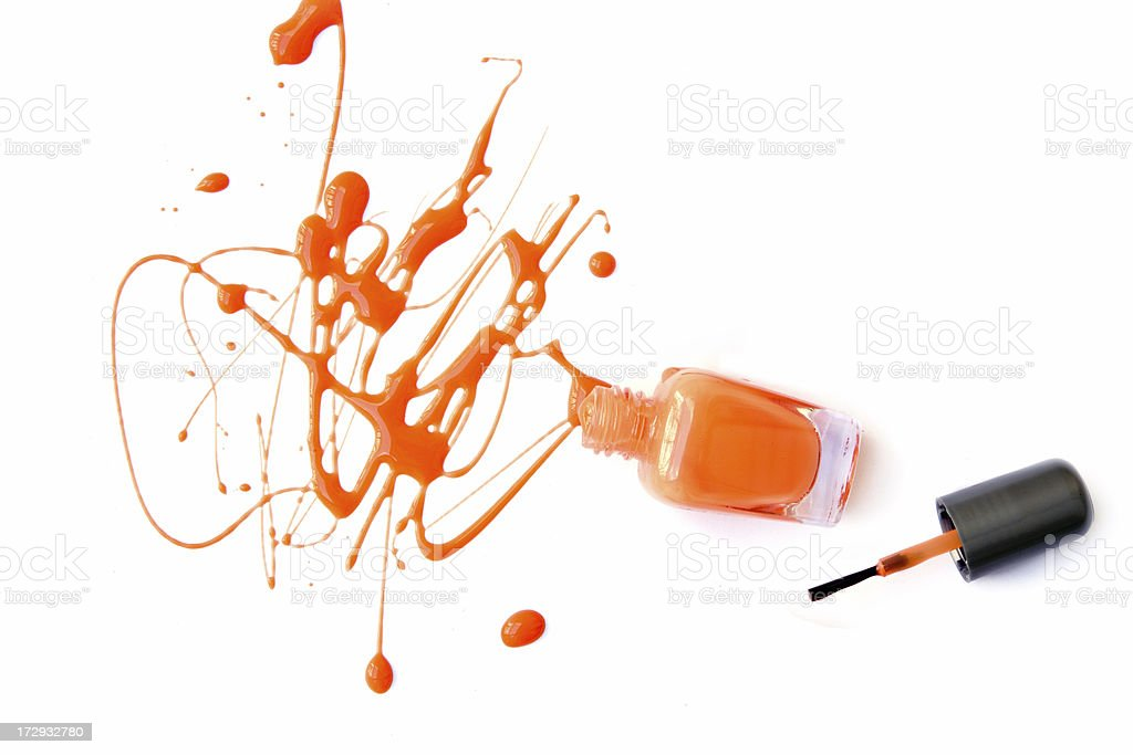 Tangerine nail color stock photo