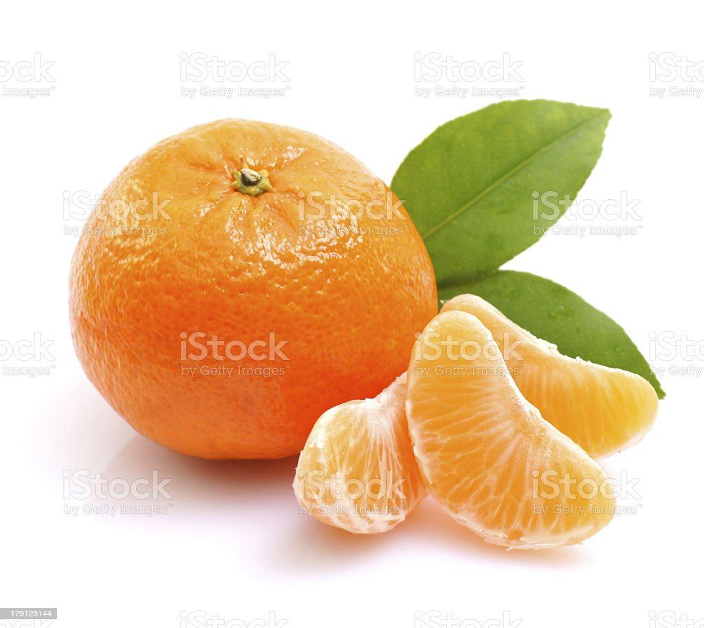 Tangerine on white ground stock photo