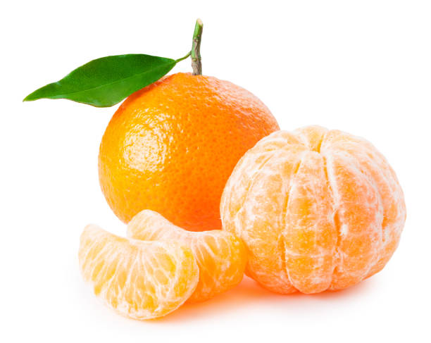 Tangerine or clementine with green leaf and slices isolated on white Tangerine or clementine with green leaf and slices isolated on white background tangerine stock pictures, royalty-free photos & images