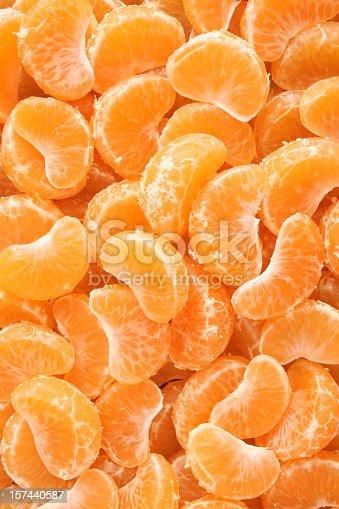 Top view of fresh tangerine wedges