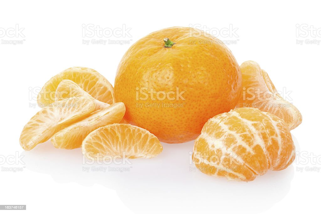Tangerine with segments royalty-free stock photo