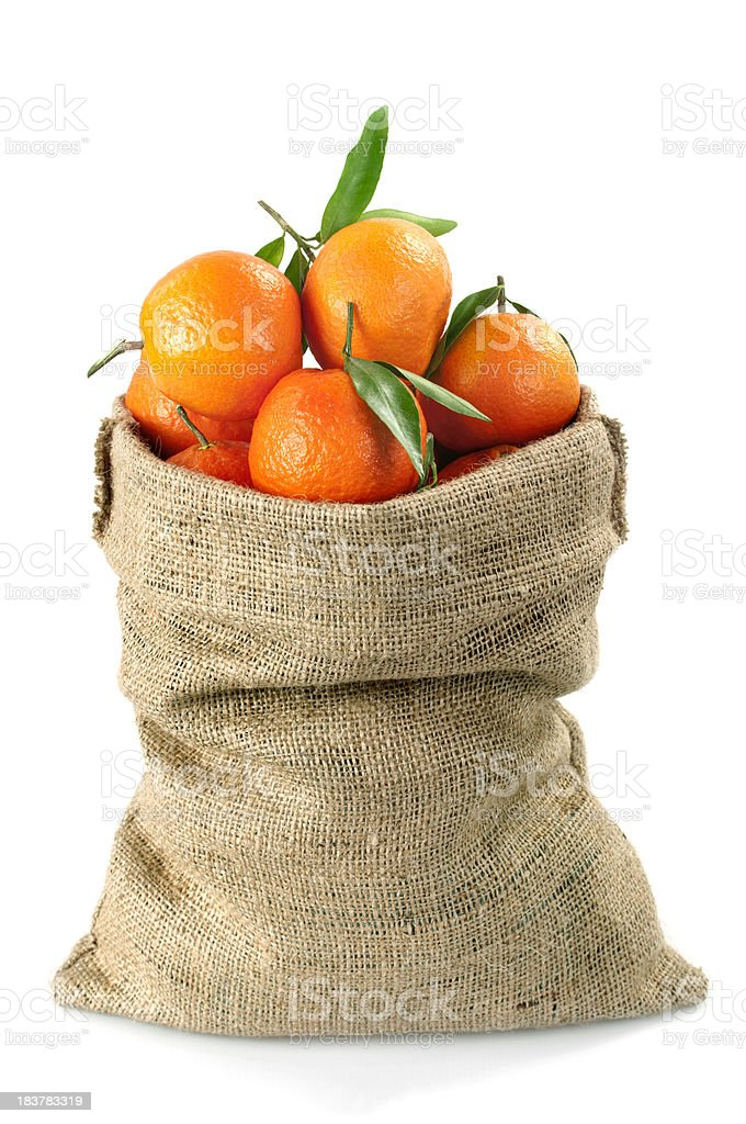 Tangerines Fruits in Sack royalty-free stock photo