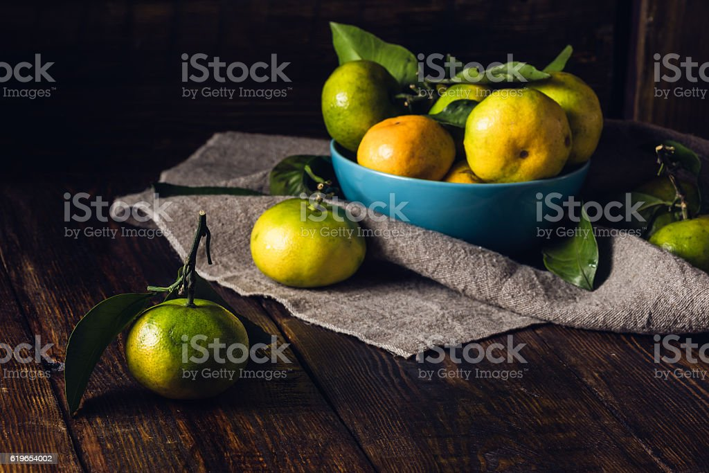 Tangerines in Blue Bowl stock photo