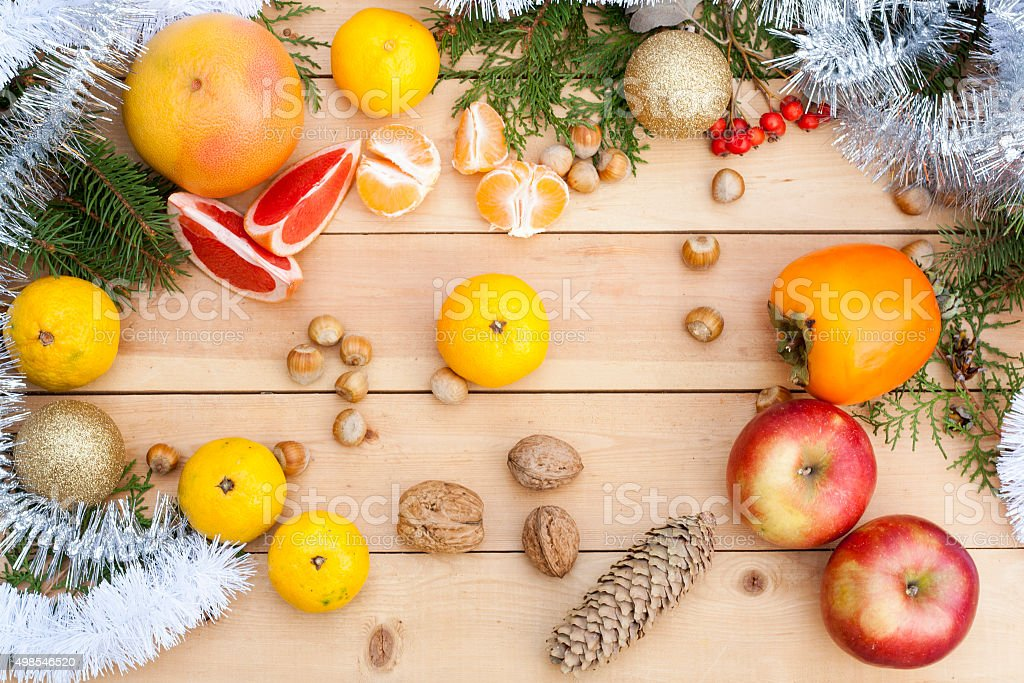 Tangerines in Christmas decor. Christmas background. royalty-free stock photo