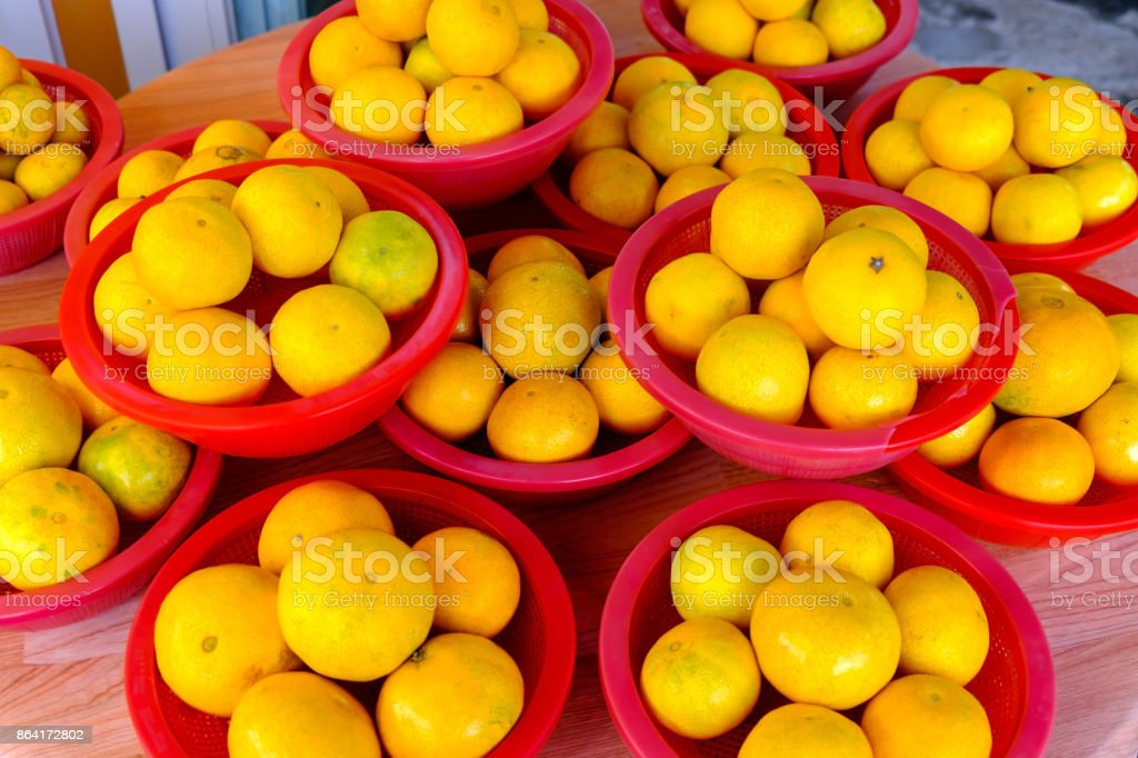 Tangerines in stack in a street market royalty-free stock photo