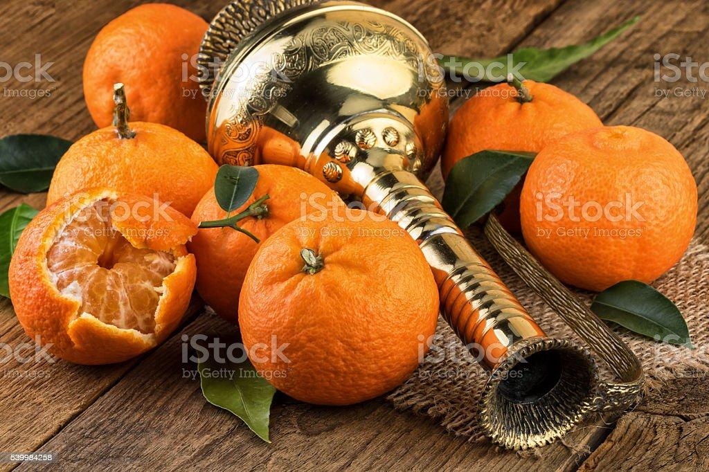 Tangerines Oriental Still Life stock photo